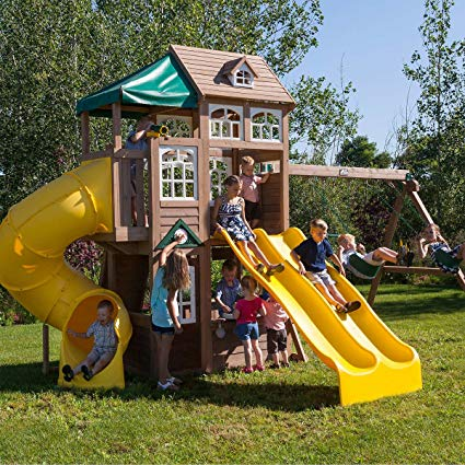 Cedar Summit Lookout Lodge 3 Slide Cedar Playset (assembly required).jpg