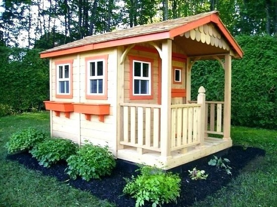 beautifully painted wooden playhouse with paint color
