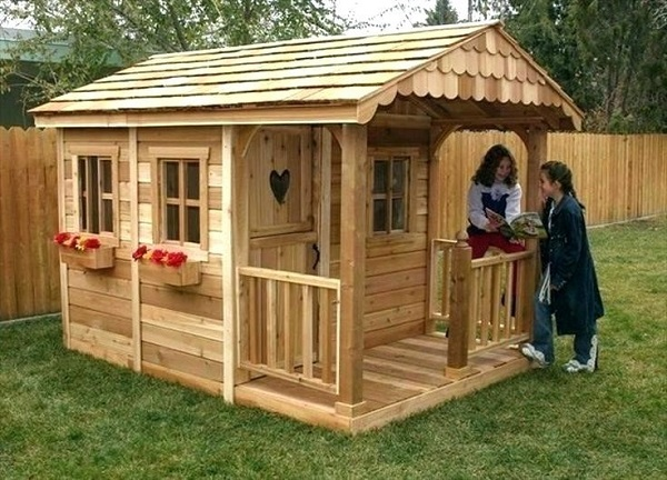 non painted wooden outdoor playhouse without paint color